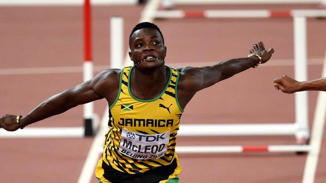 Jamaican hurdler Omar McLeod at the World Athletics Championships in Beijing