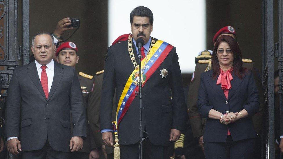 Diosdado Cabello, Nicolás Maduro y Cilia Flores.