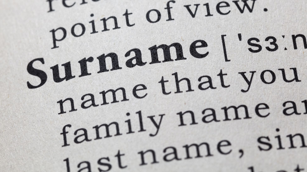 The word surname as seen in a dictionary