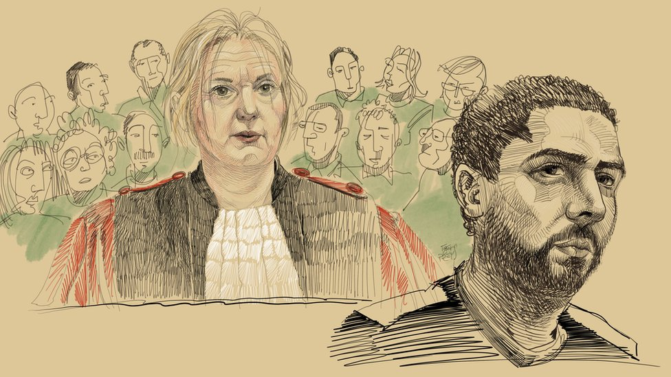 Crtež Igora Prejsa pokazuje sudiju Lorans Masar i optuženog Mehdija Nemuša