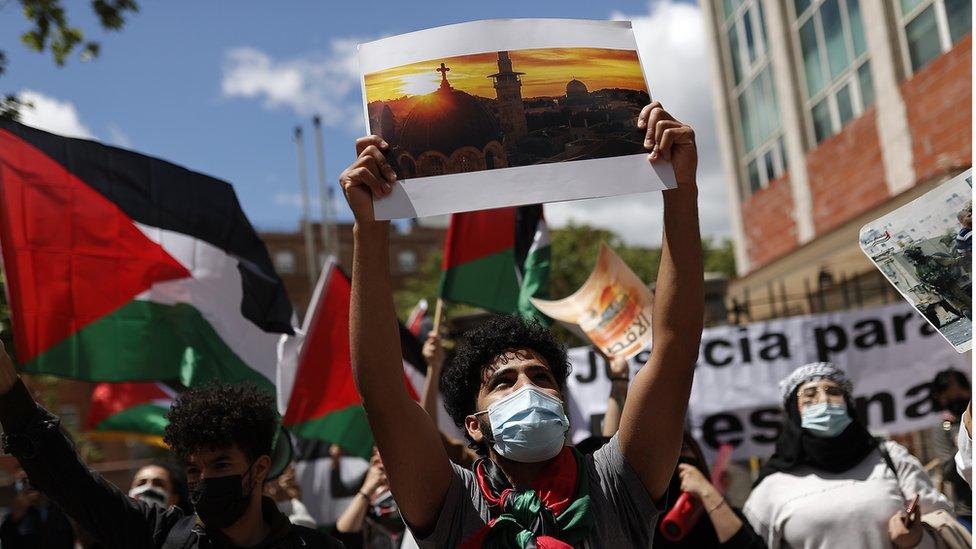 جانب من مظاهرة تأييد للفلسطينيين في اسبانيا