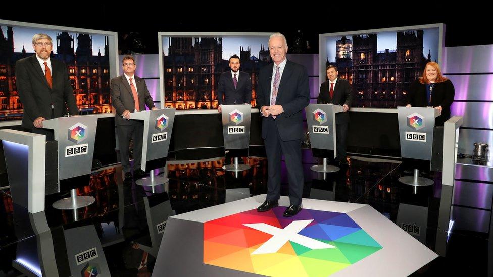 Sinn Fein's John O'Dowd, DUP's Jeffrey Donaldson, SDLP's Colum Eastwood, UUP's Robin Swann, Alliance leader Naomi Long at the leaders' debate hosted by the BBC's Noel Thompson