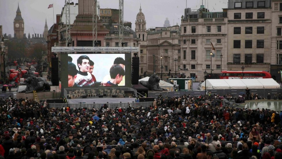 The Salesman was shown on a screen in London's Trafalgar Square on Sunday