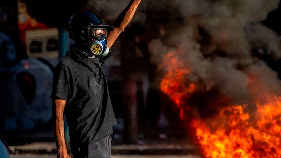 Manifestante en Chile (archivo)