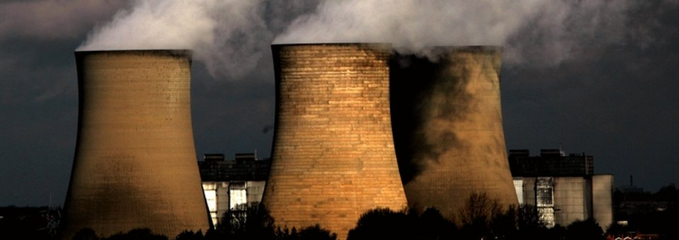 Three of Didcot A Power Station's cooling towers pictured in 2007