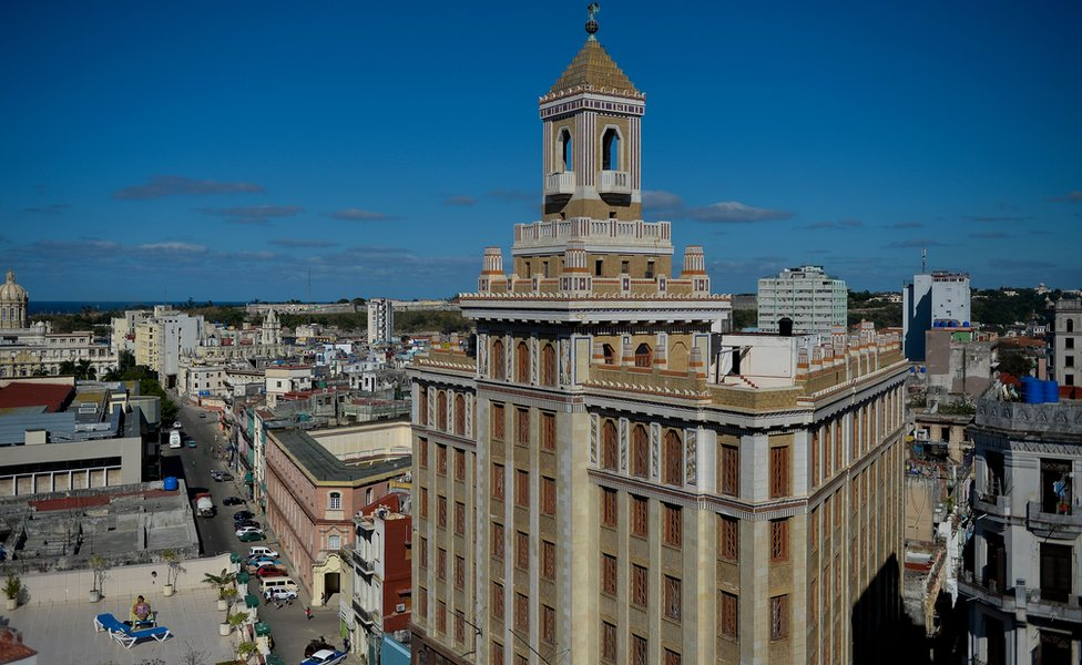 View of the Bacardi building in Havana, on February 6, 2019