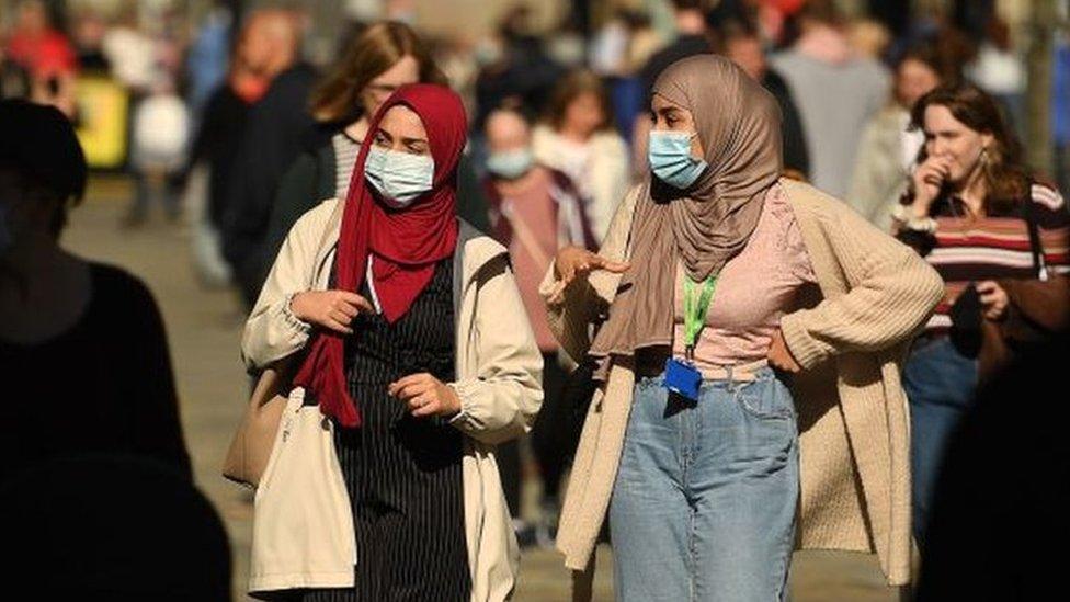 Women wearing masks in Newcastle