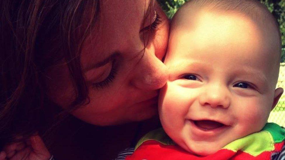 Zoe Davies and baby Theo