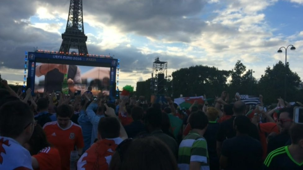 Wales fans singing in the Paris fan zone
