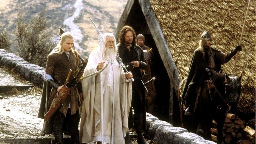 Orlando Bloom as Legolas, Viggo Mortensen as Aragorn, and Ian McKellen as Gandalf in The Return of the King