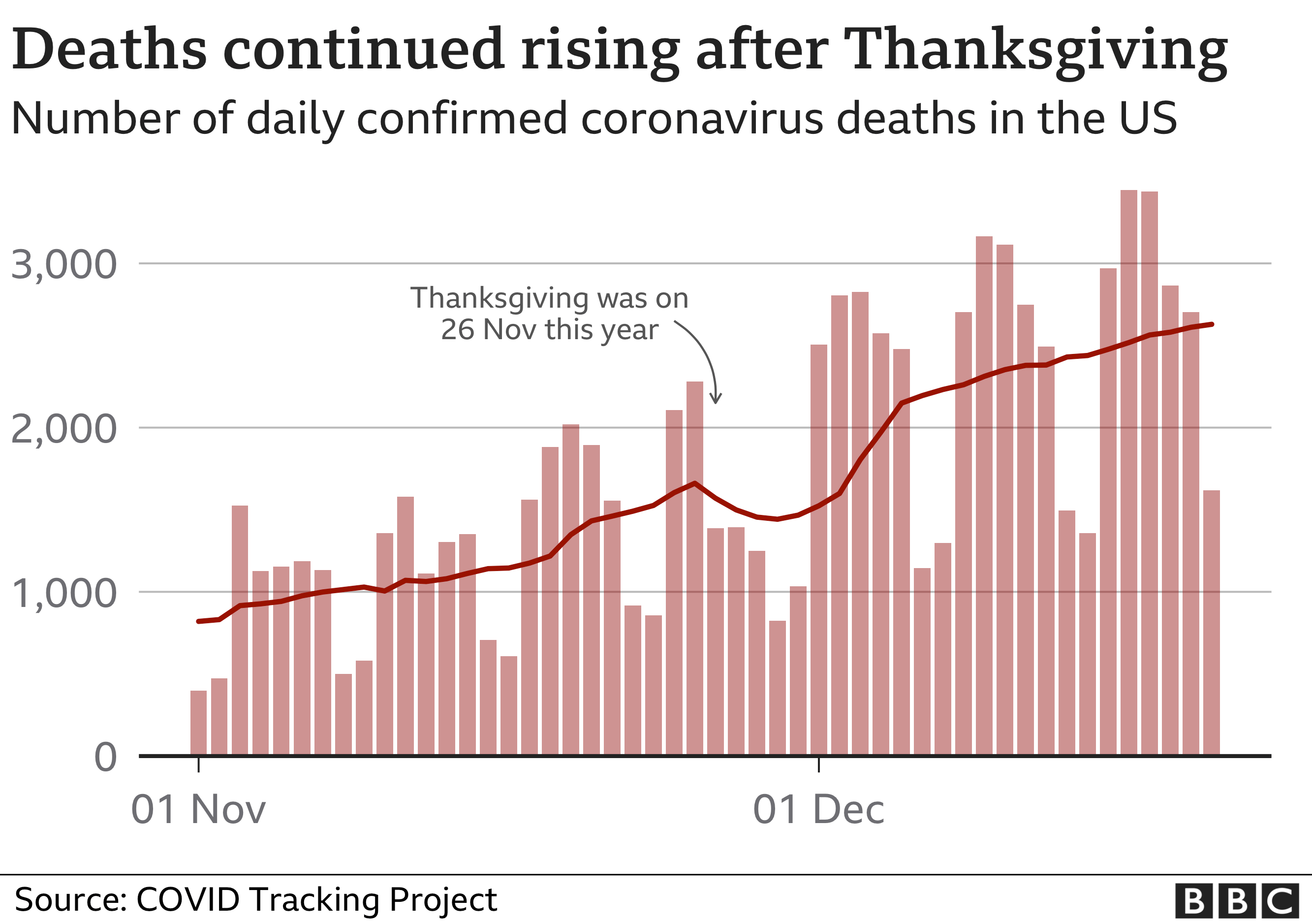 Daily covid deaths US November through to December