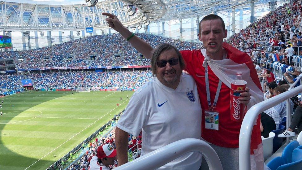 Paul Dubberley and Alex Waters at the Nizhny Novgorod Stadium