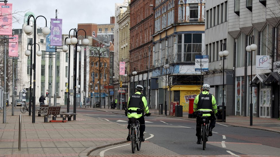 Police patrols on the streets of Belfast today amid the Coronavirus outbreak