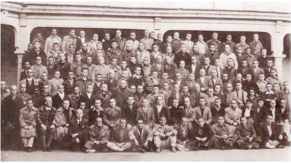 Tom Jones in Burgos penitentiary in 1940 - Tom is eighth from left second row