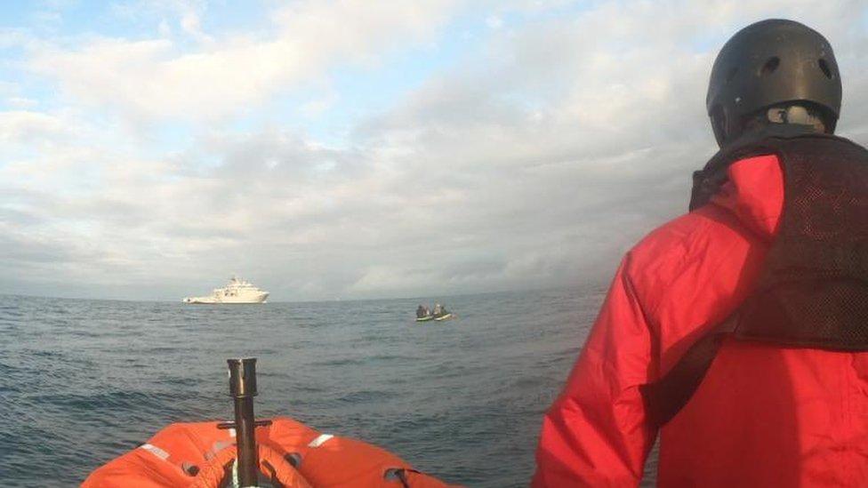 Makeshift raft off Calais