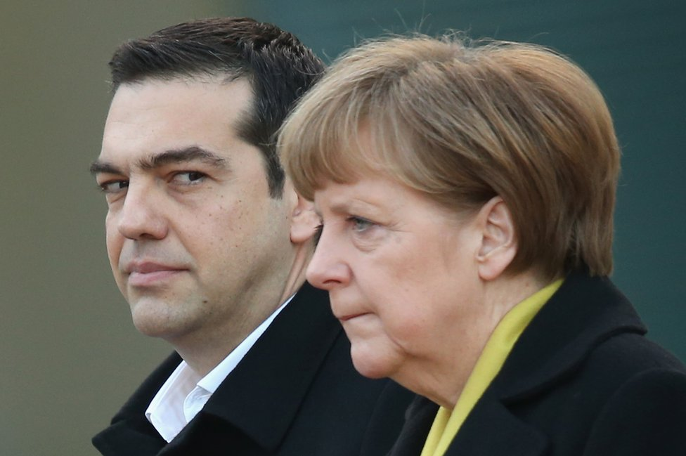 German Chancellor Angela Merkel and Greek Prime Minister Alexis Tsipras