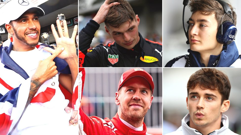 Lewis Hamilton, Max Verstappen, George Russell, Sebastian Vettel and Charles Leclerc
