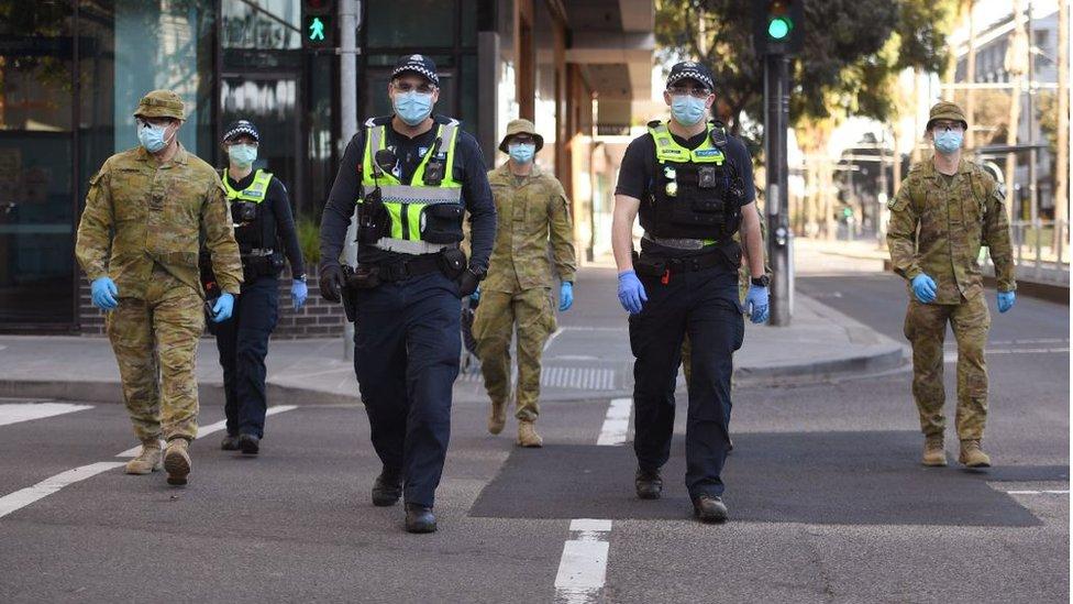 Officers enforcing Melbourne's lockdown