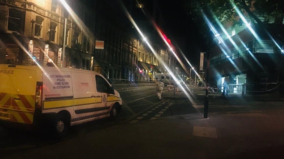 Two arrests after woman shot outside Nottingham bar