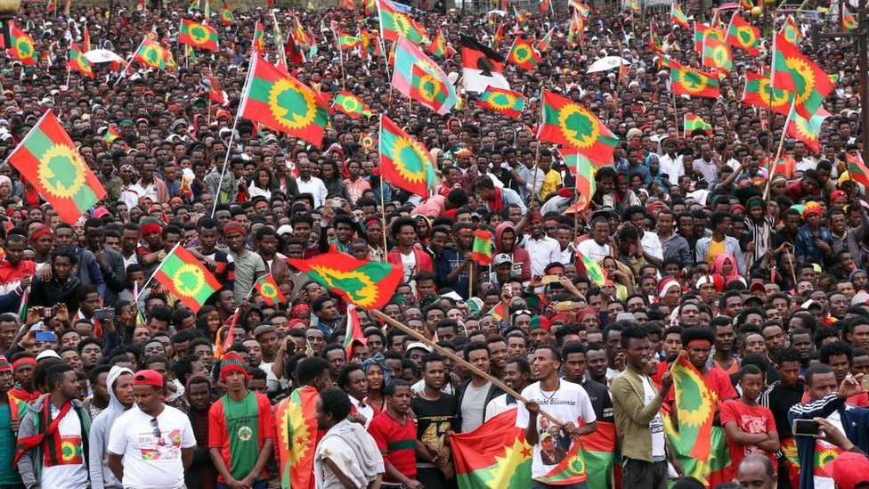 Thousands gather for welcoming ceremony for Dawud Ibsa, leader of the once-banned Oromo Liberation Front (OLF) at Meskel Square in Addis Ababa, Ethiopia on September 15, 2018