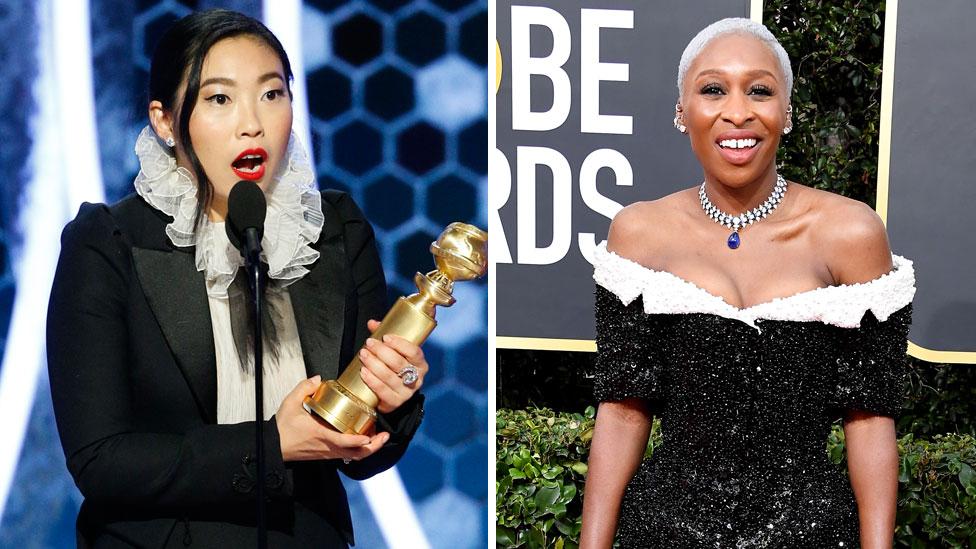 """Awkwafina ganó un Golden Globe por """"The Farewell"""", pero Cynthia Erivo (d) quien interpretó a una esclava convertida en abolicionista en """"Harriet"""" no fue considerada para una nominación a los Bafta."""