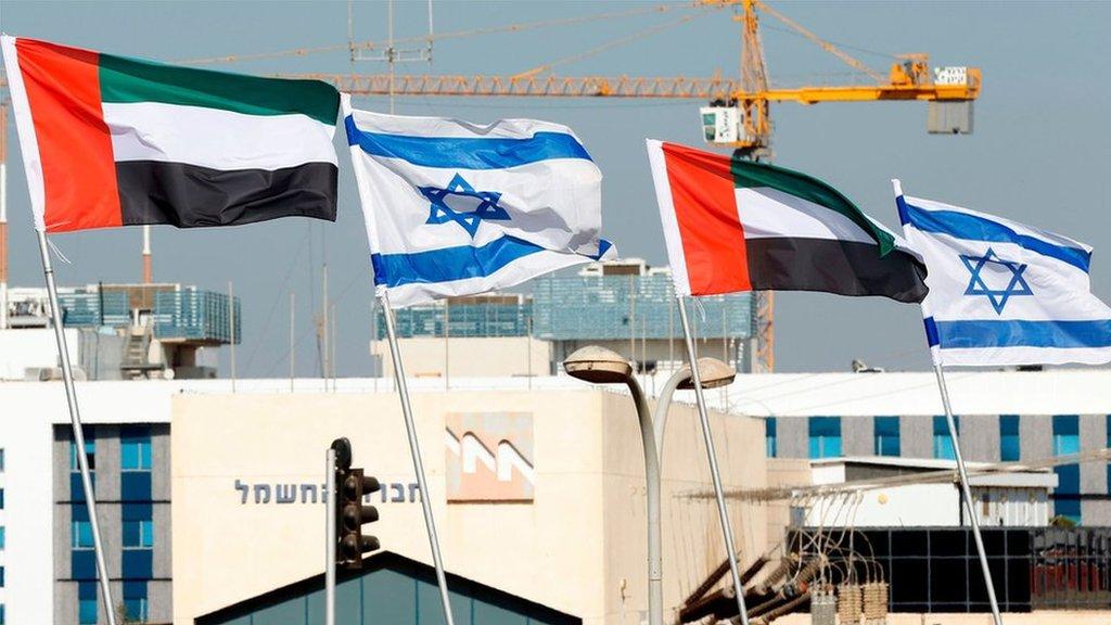 أعلام الإمارات العربية المتحدة ترفع إلى جانب الأعلام الإسرائيلية في مدينة نتانيا
