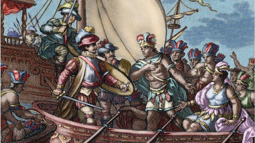 La captura de Cuauhtémoc en una ilustración