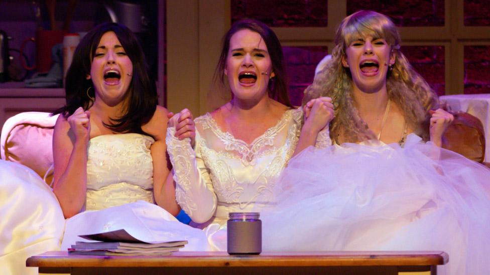 Left-right: Sarah Goggin, Charlotte ELisabeth Yorke and Ally Retberg in Friendsical