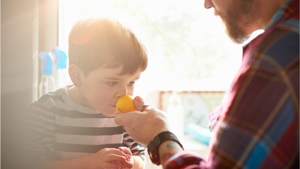 Niño oliendo un limón de manos de su padre