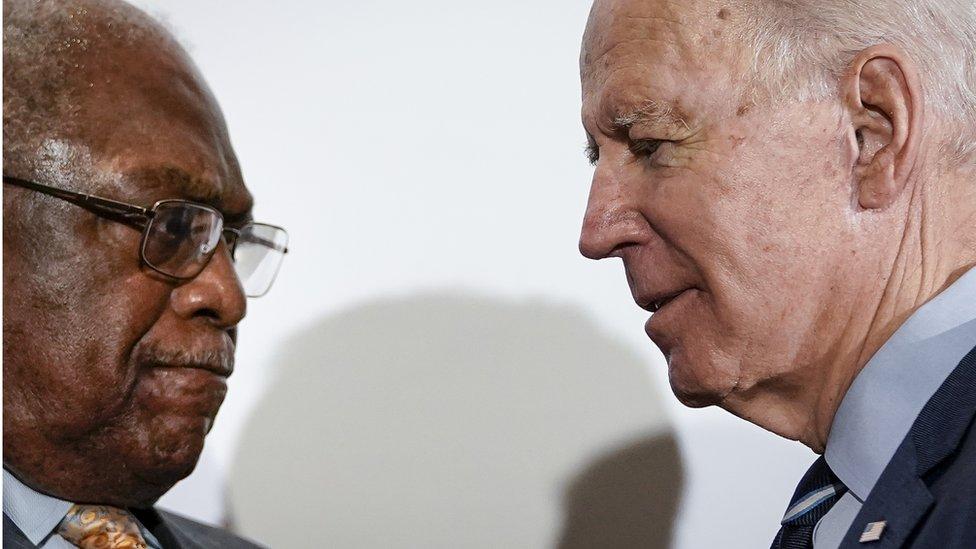 James Clyburn (L) and US President-elect Joe Biden