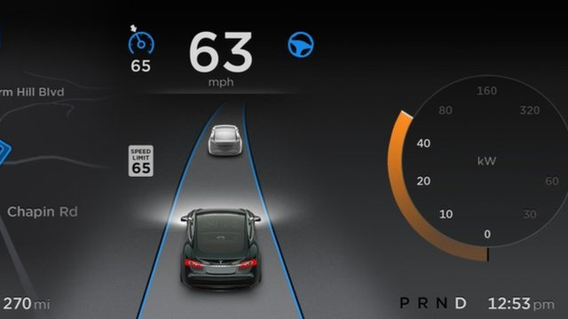 The autopilot mode combines sensors, cameras and mapping data to work out the car's position