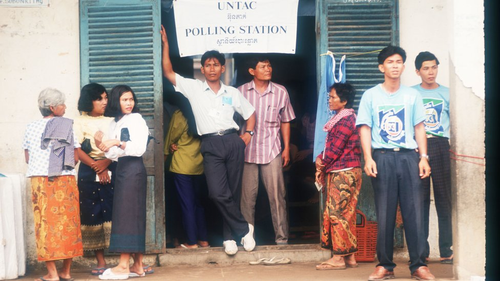 Unidentified people wait to vote in rural areas May 23, 1993 in Phnom Penh, Cambodia.