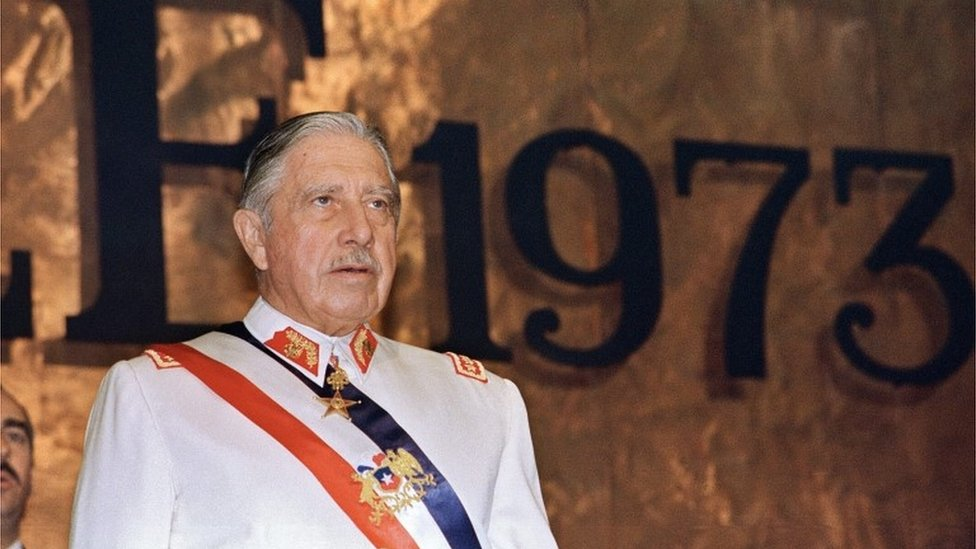 General Augusto Pinochet during an official ceremony in Santiago (11/03/1988)