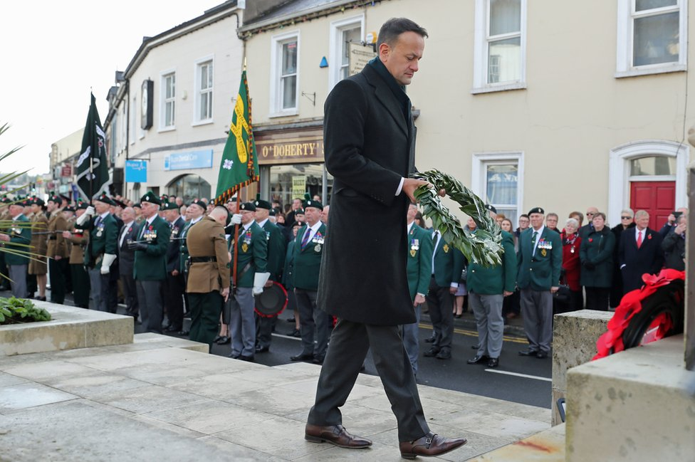 Leo Varadkar lays a wreath at the war memorial in Enniskillen