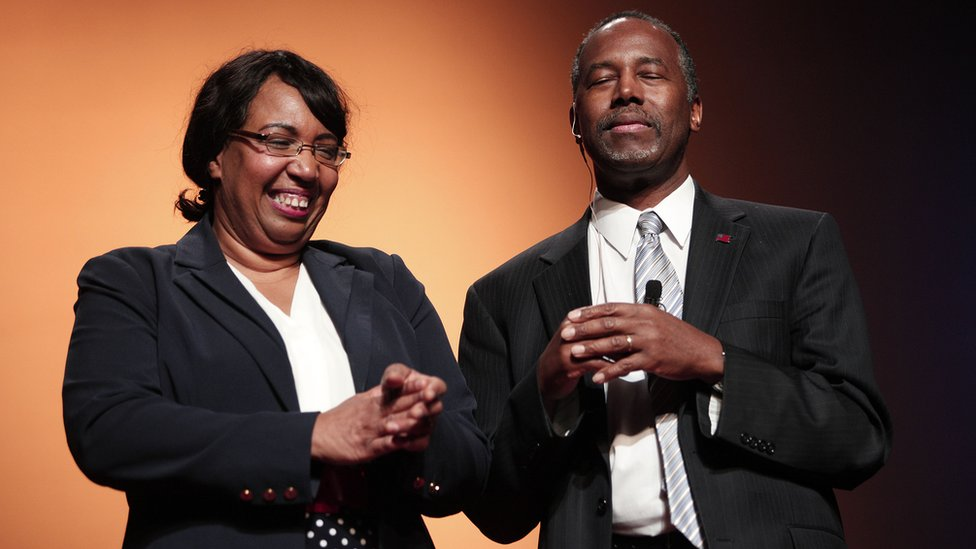 Ben Carson and his wife Candy Carson as he officially announces his presidential campaign in May 2015