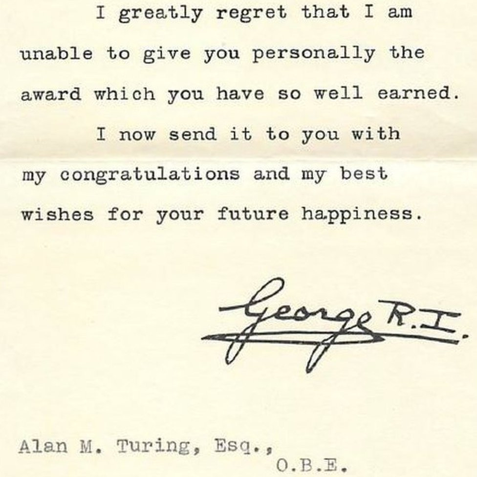 Letter to Turing fro King George VI