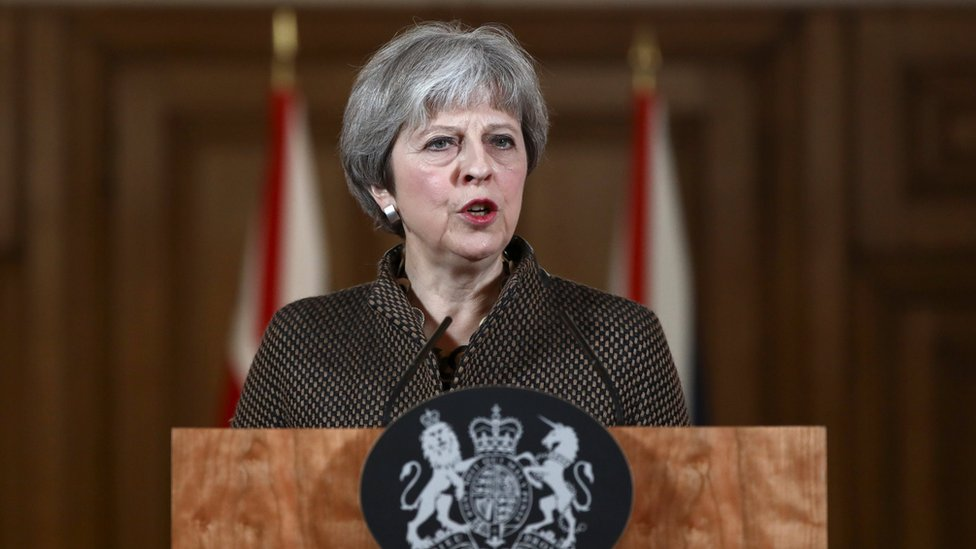 Theresa May at a Downing Street press conference on the air strikes against Syria