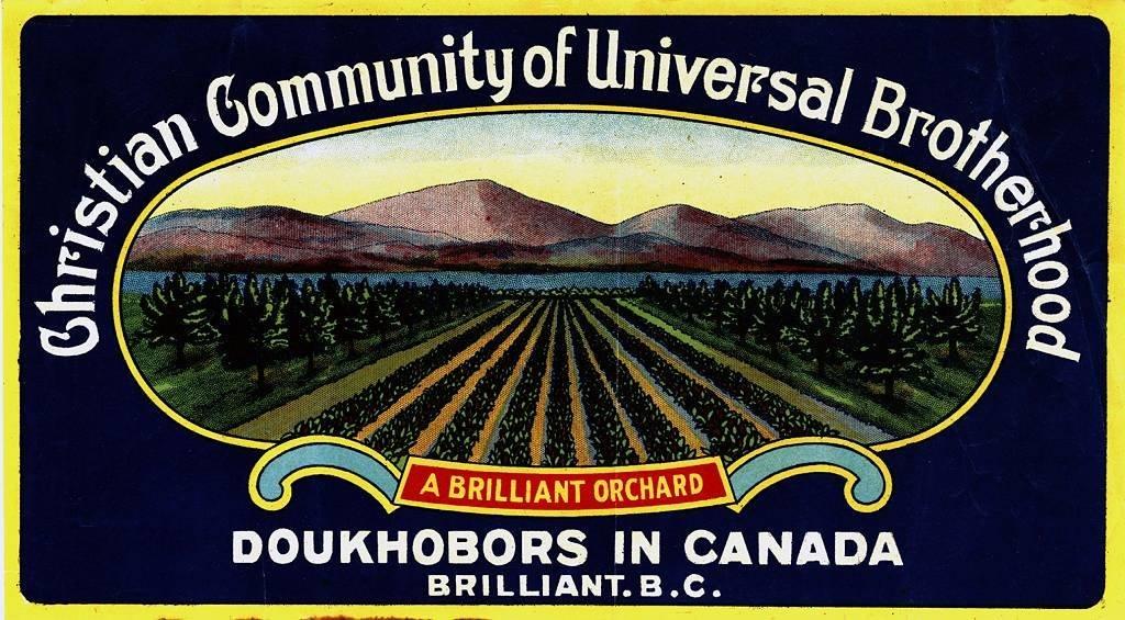 Una etiqueta de fruta de los agricultores dujobor del oeste de Canadá en Brilliant, Columbia Británica alrededor de 1930.