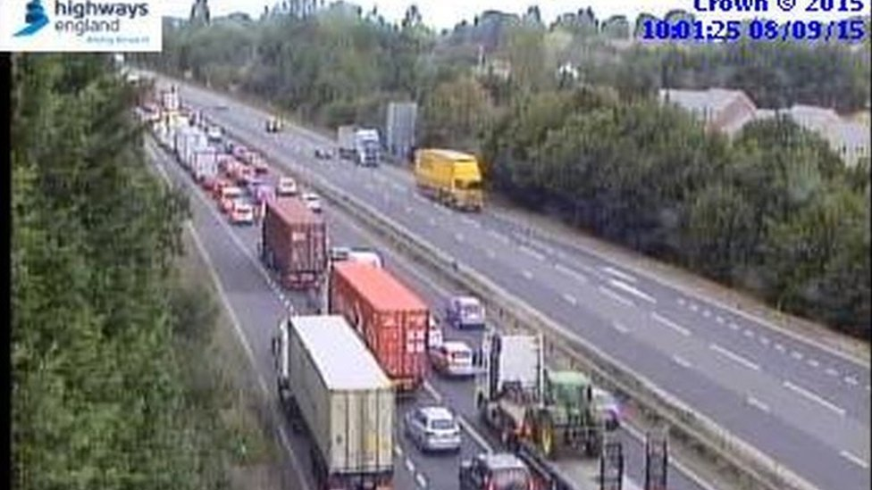 A14 queue following accident