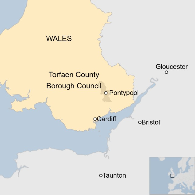 Map of Torfaen, showing Pontypool, Cardiff and Bristol