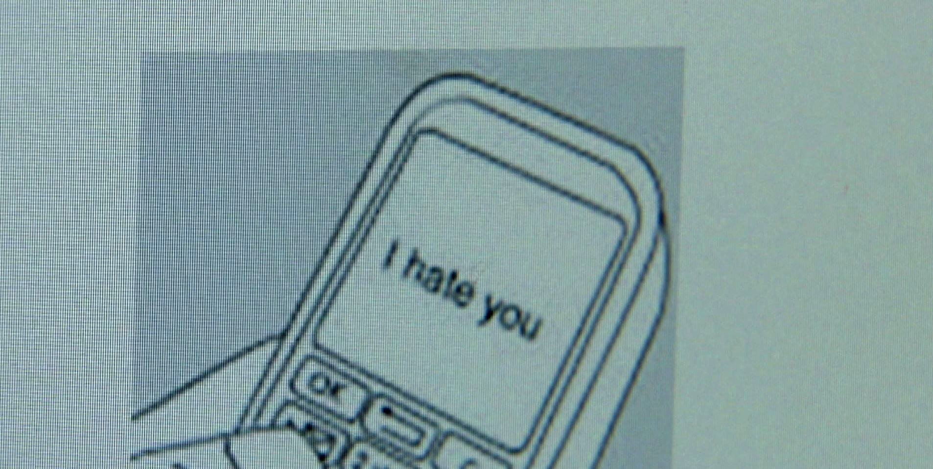 """""""I Hate You"""" on a computer screen"""