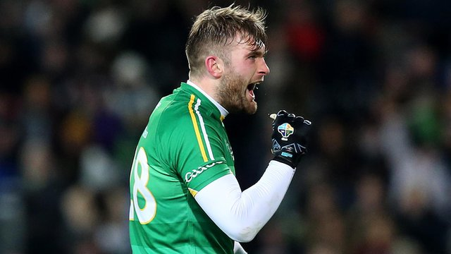 Aidan O'Shea celebrates after scoring one of his two goals in the International Rules Test at Croke Park
