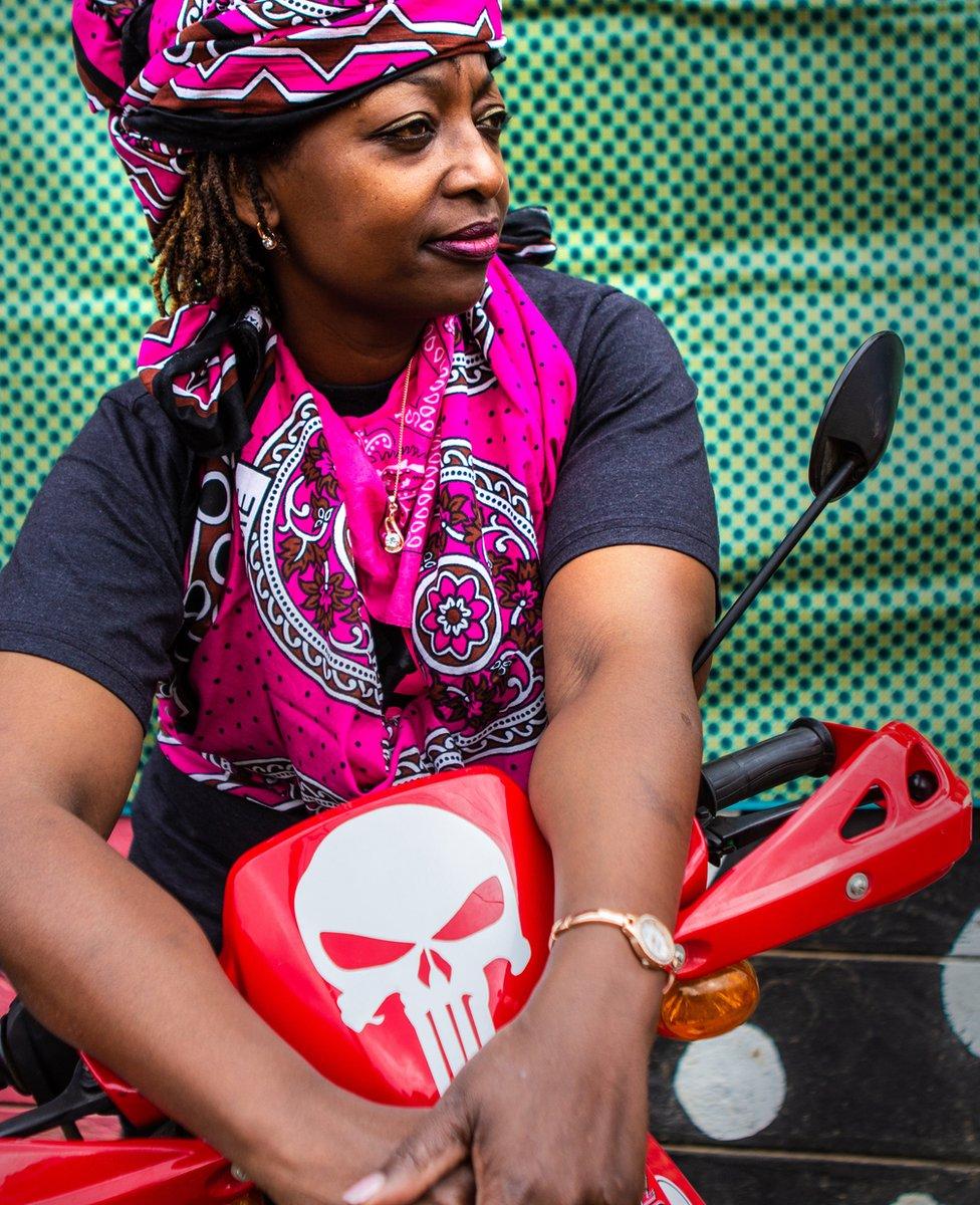 Kenyan biker Agi D'Costa