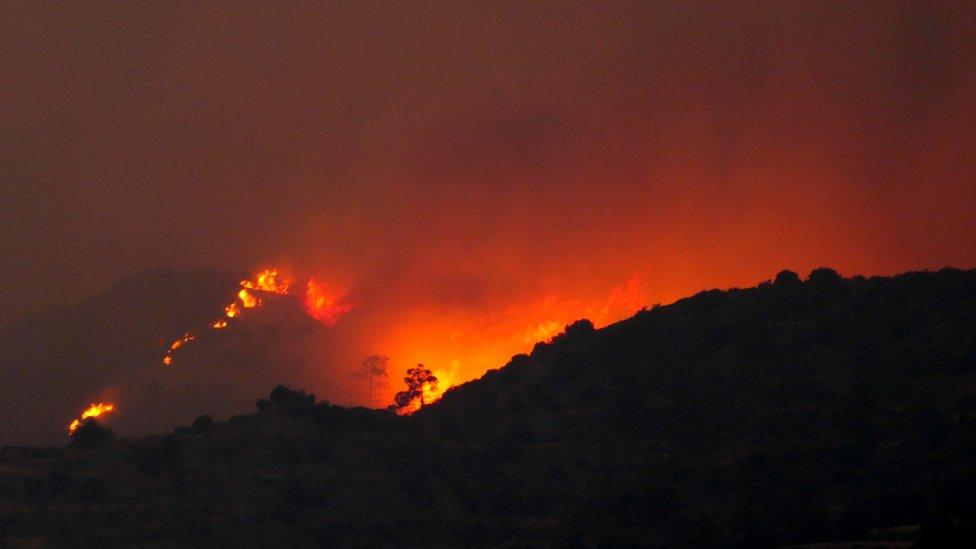 Yangının Limasol ve Larnaka'nın kuzeyini etkilediği bildiriliyor