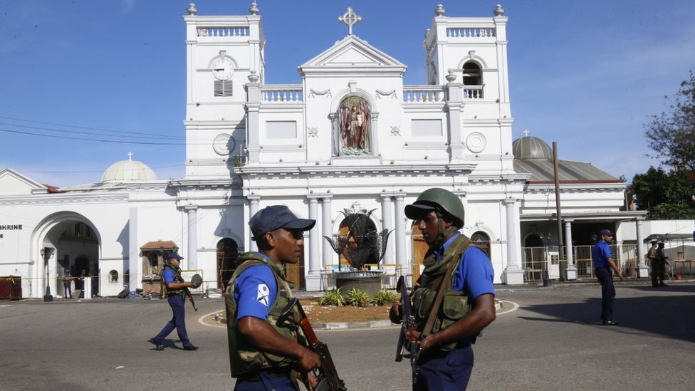 Police in front of St Anthony's church