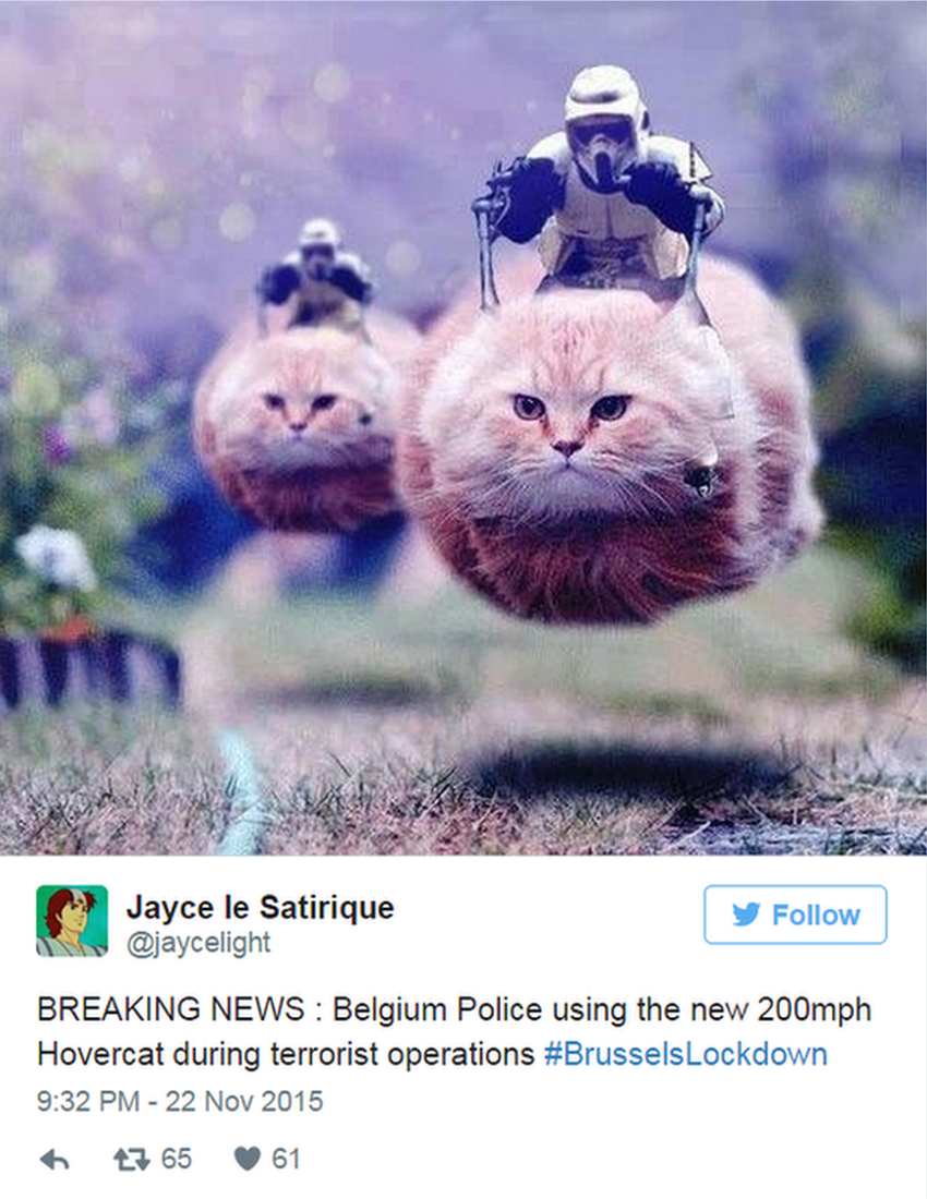 Jayce le Satirique tweets: BREAKING NEWS : Belgium Police using the new 200mph Hovercat during terrorist operations #BrusselsLockdown