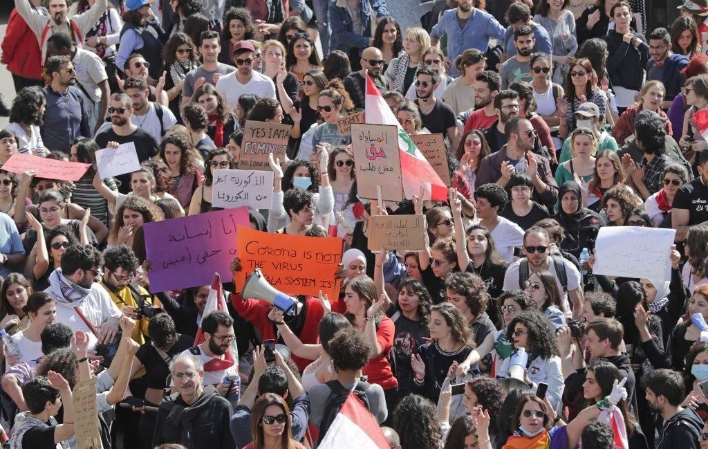 مظاهرات النساء في لبنان في يوم المرأة العالمي.