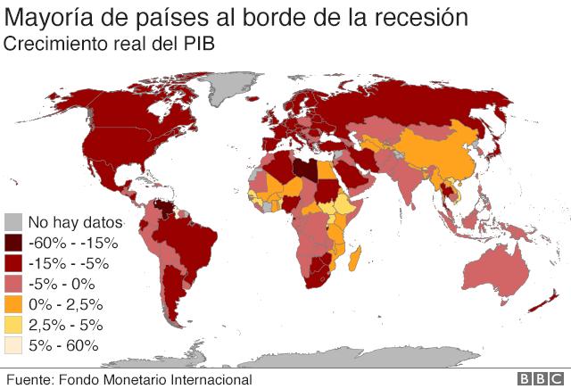 Mapa que muestra nivel de recesión en el mundo