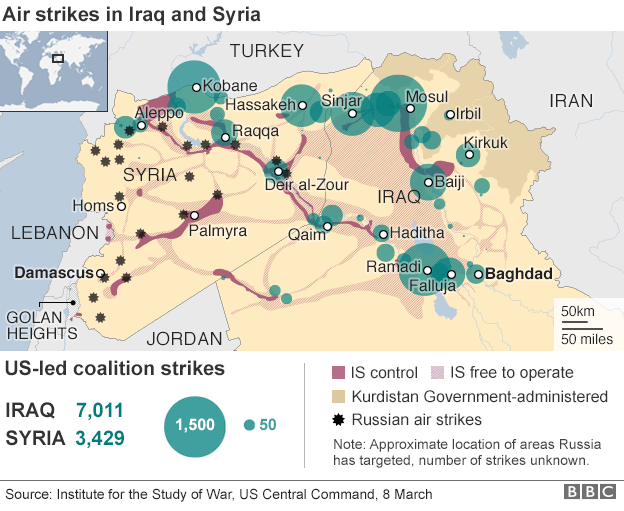 Air strikes in Iraq and Syria since 2014