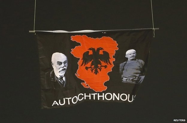 The Albanian nationalist flag over the pitch in Belgrade, 14 October